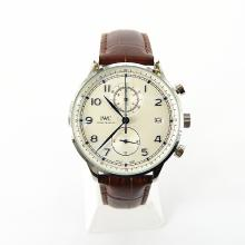 IWC Portuguese Working Chronograph with White Dial-Leather Strap